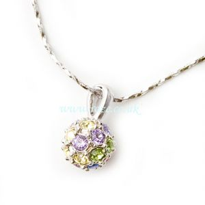 Coloured crystal globe pendant necklace, (jn44)